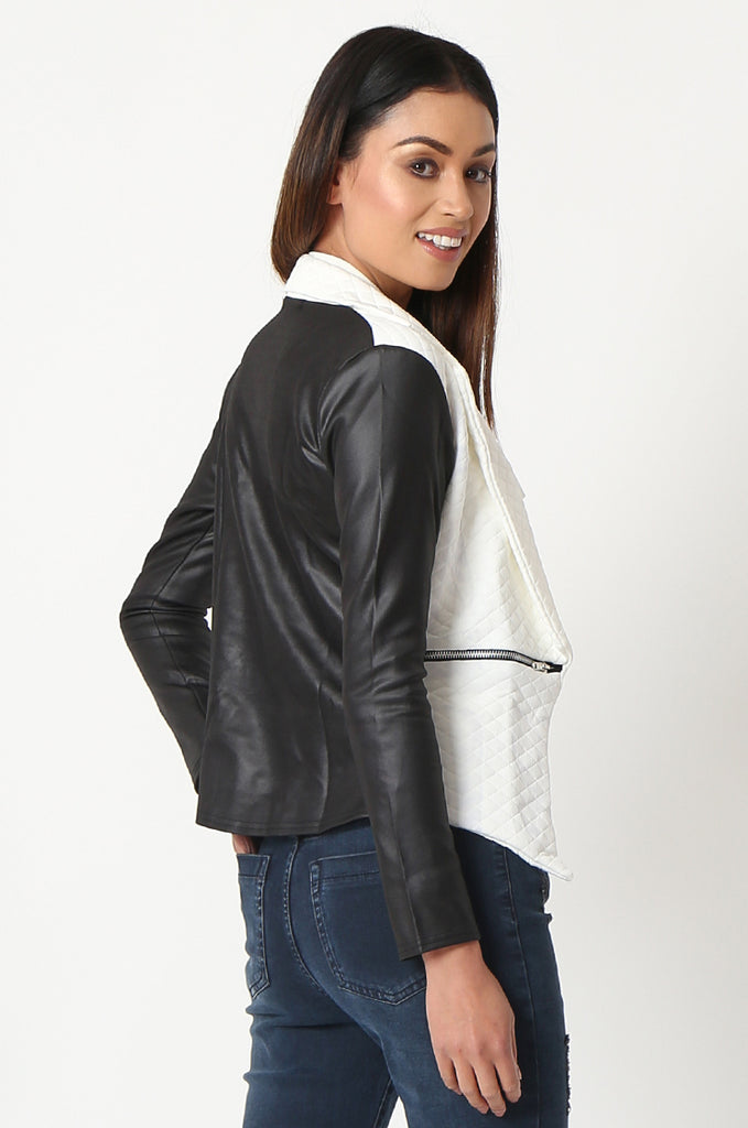 SSW2834-WHITE QUILTED CONTRAST SLEEVE ZIP POCKET BLAZER view 3