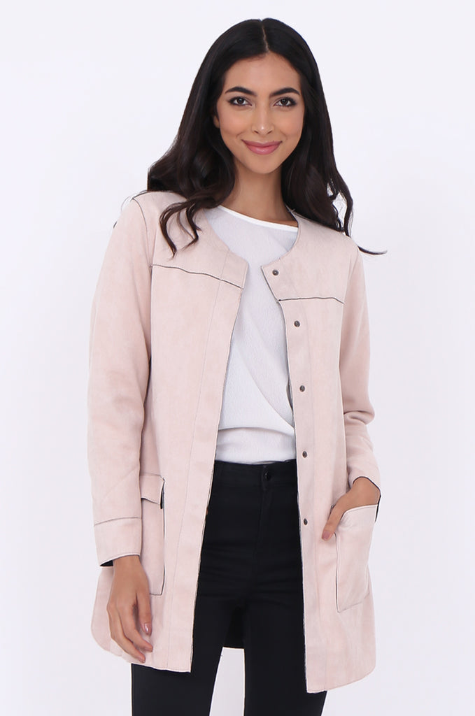 SUEDETTE COLLARLESS COAT