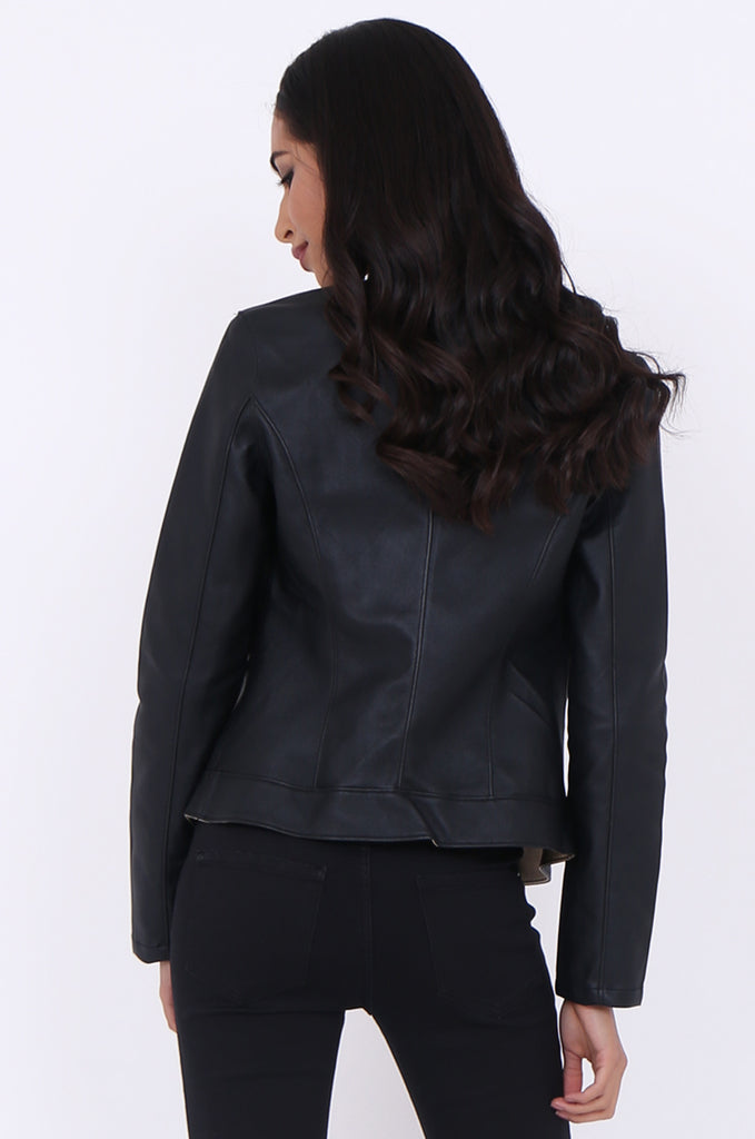 ST1319-BLACK LEATHERETTE MOTORBIKE JACKET view 3