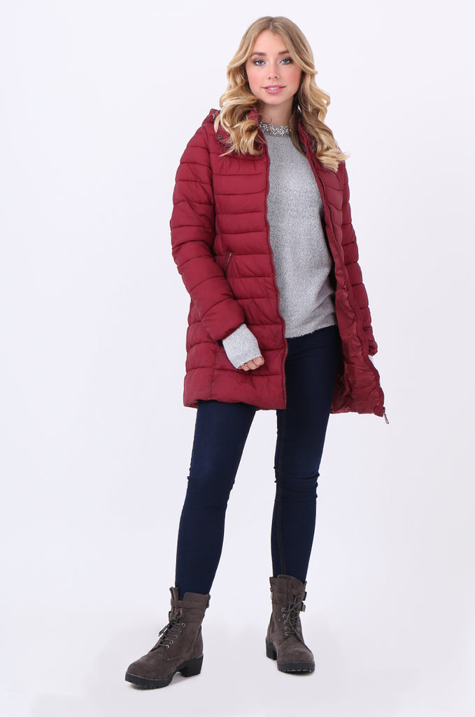 STT2096-RED LONGLINE HOODED PUFFER JACKET view main view