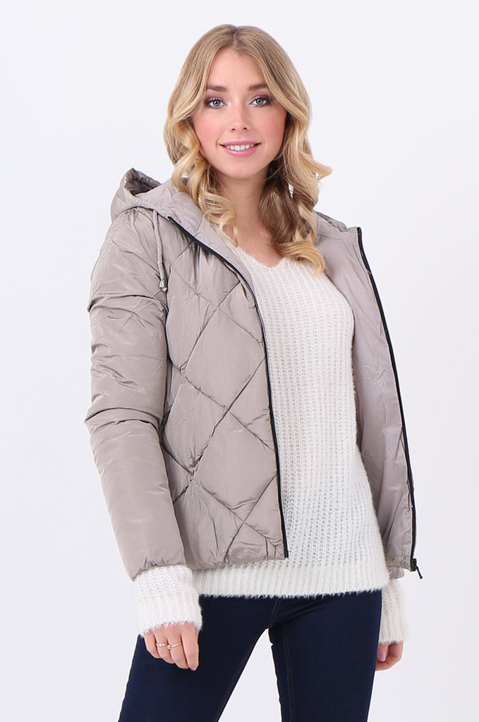 STT2099-STONE HOODED QUILTED PUFFER JACKET
