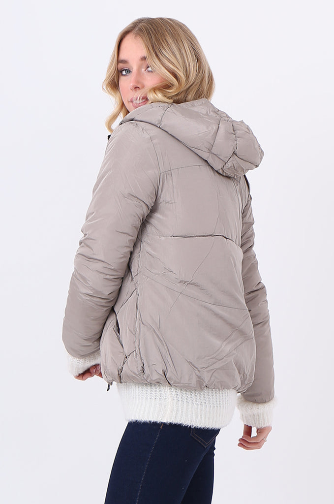 STT2099-STONE HOODED QUILTED PUFFER JACKET view 2