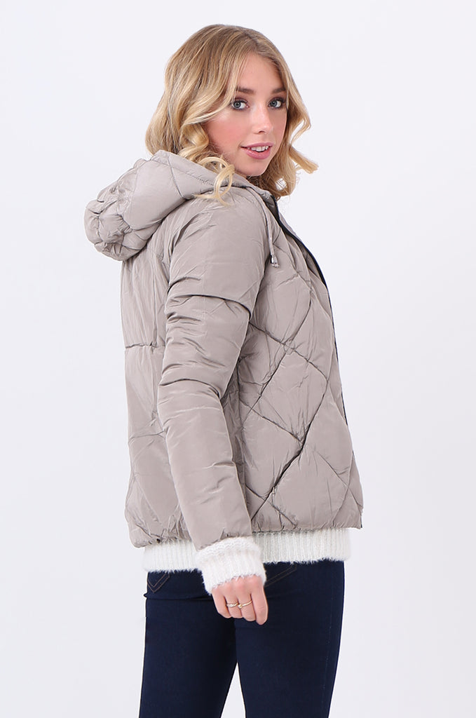 STT2099-STONE HOODED QUILTED PUFFER JACKET view 3