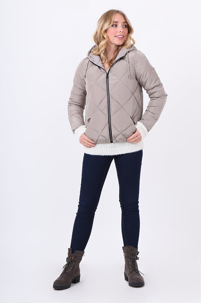 STT2099-STONE HOODED QUILTED PUFFER JACKET view 4