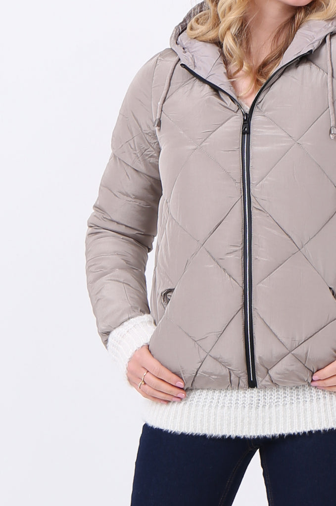 STT2099-STONE HOODED QUILTED PUFFER JACKET view 5