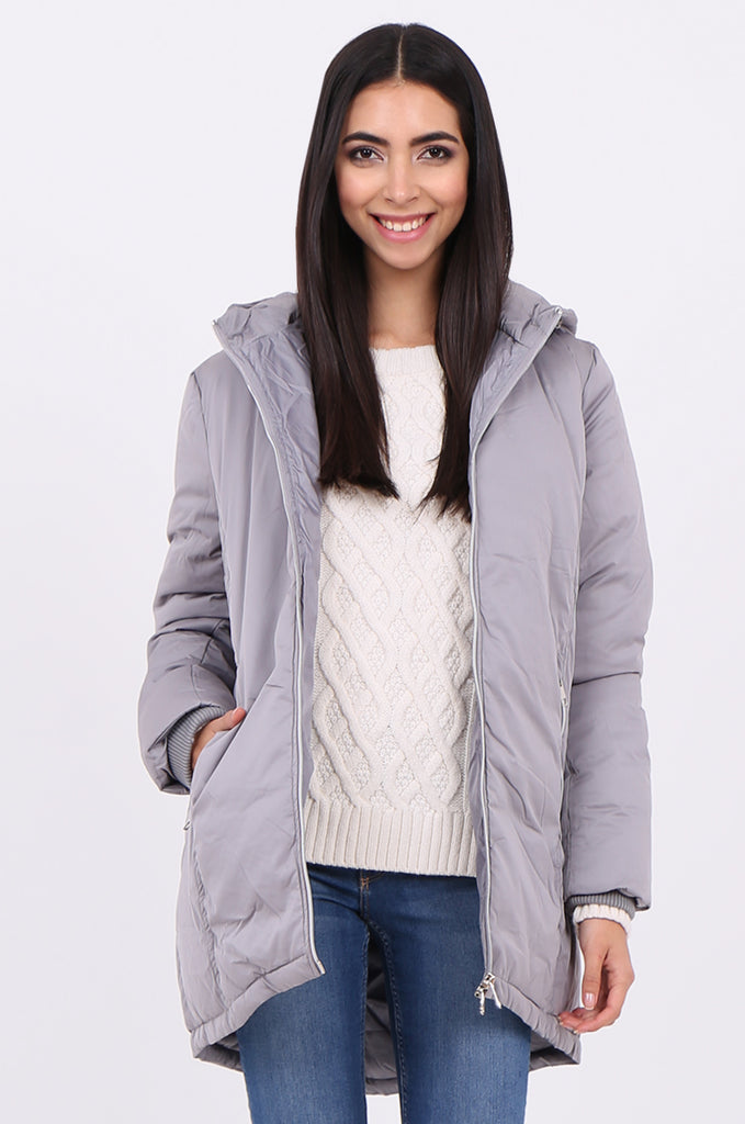 STT2100-GREY LONGLINE HOODED PUFFER COAT view 2