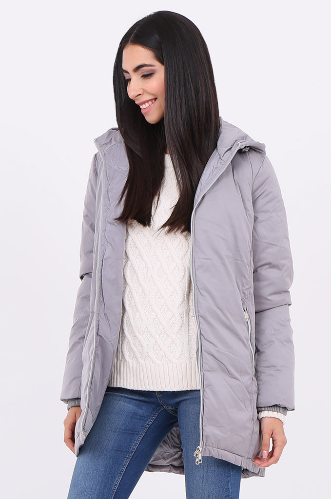 STT2100-GREY LONGLINE HOODED PUFFER COAT view 3