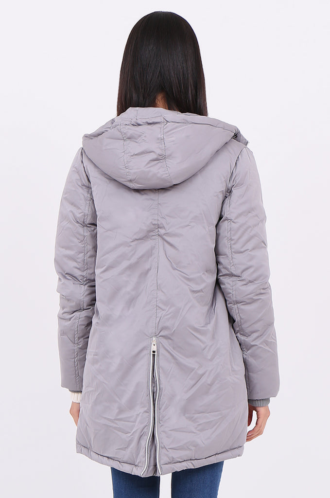 STT2100-GREY LONGLINE HOODED PUFFER COAT view 4