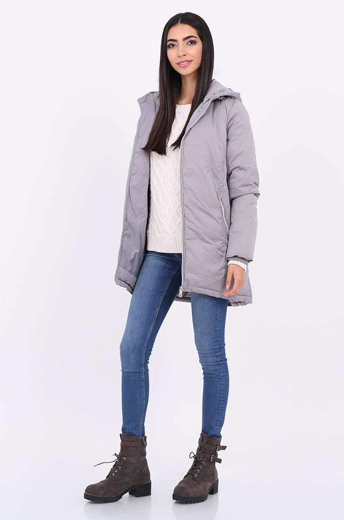 STT2100-GREY LONGLINE HOODED PUFFER COAT
