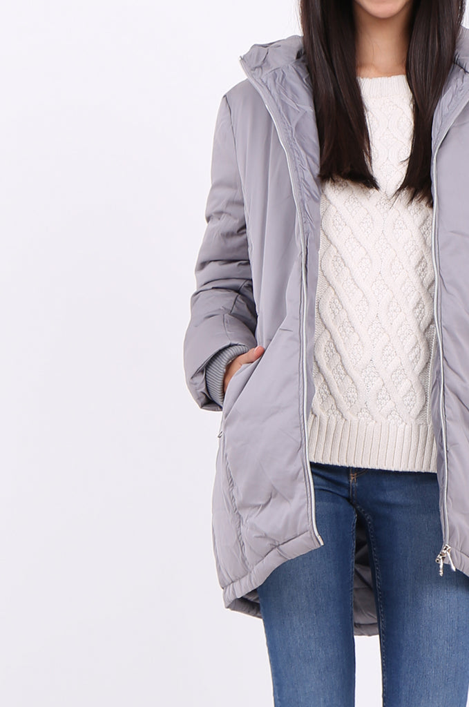 STT2100-GREY LONGLINE HOODED PUFFER COAT view 5