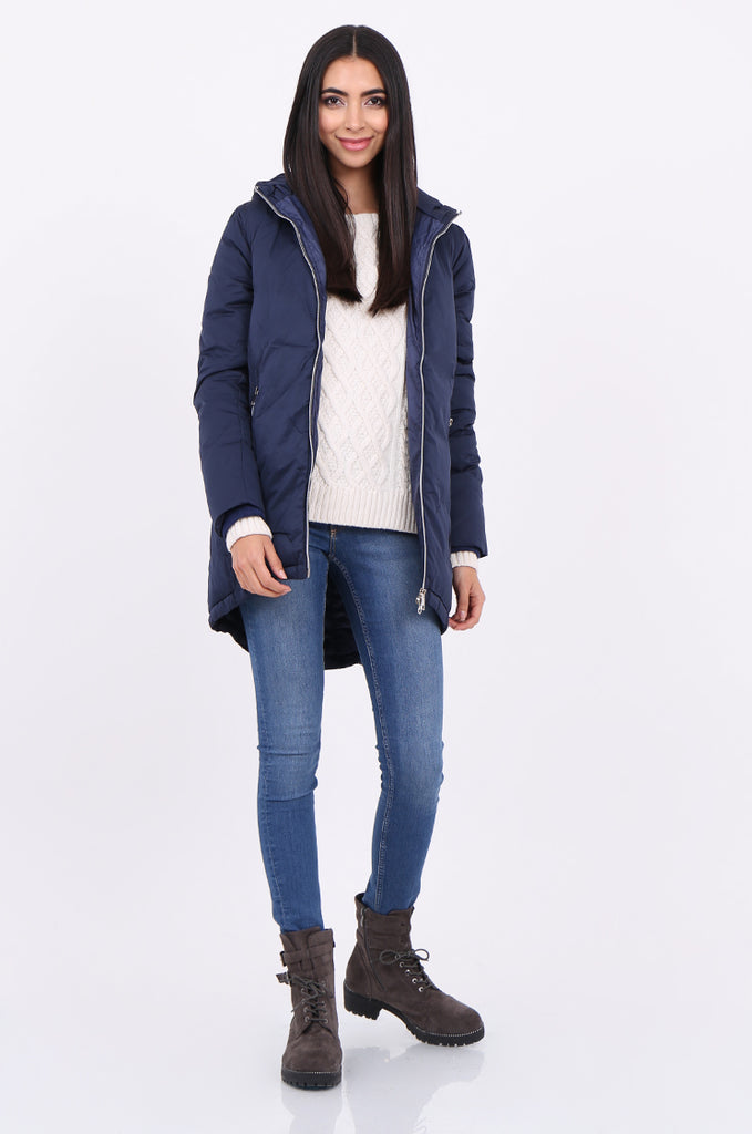STT2100-NAVY LONGLINE HOODED PUFFER COAT view main view