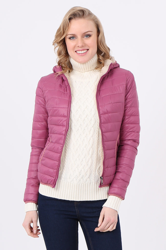 STT2129-BERRY HOODED TEDDY LINED PUFFER JACKET view main view
