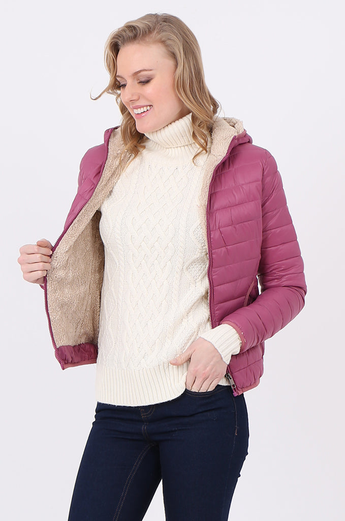 STT2129-BERRY HOODED TEDDY LINED PUFFER JACKET view 2
