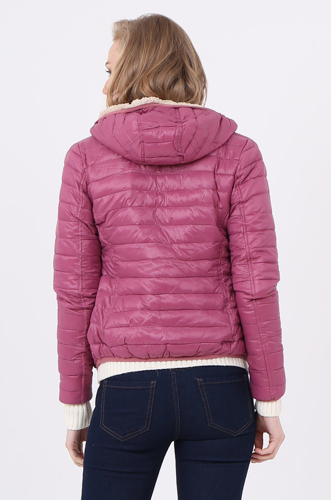 STT2129-BERRY HOODED TEDDY LINED PUFFER JACKET view 3