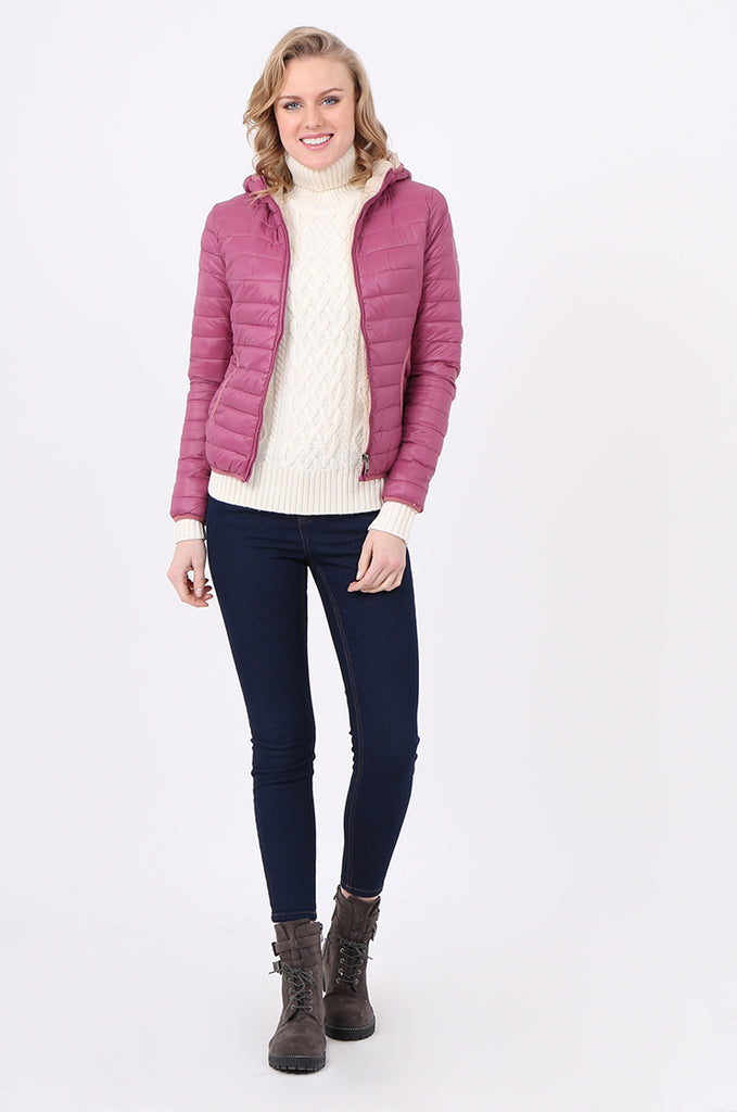 STT2129-BERRY HOODED TEDDY LINED PUFFER JACKET view 4