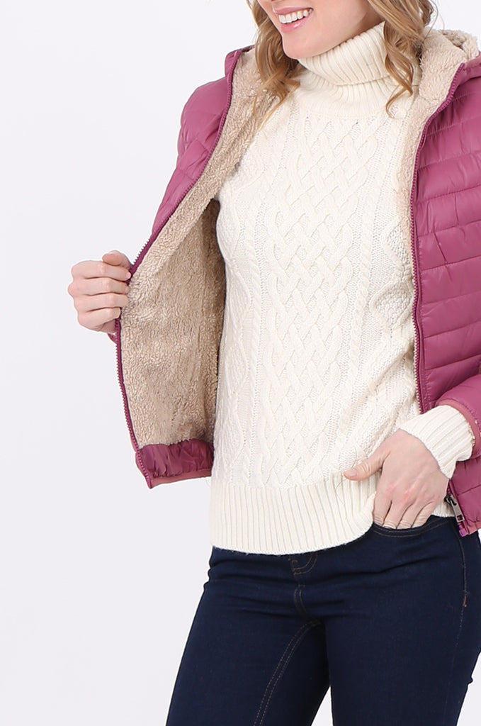 STT2129-BERRY HOODED TEDDY LINED PUFFER JACKET view 5