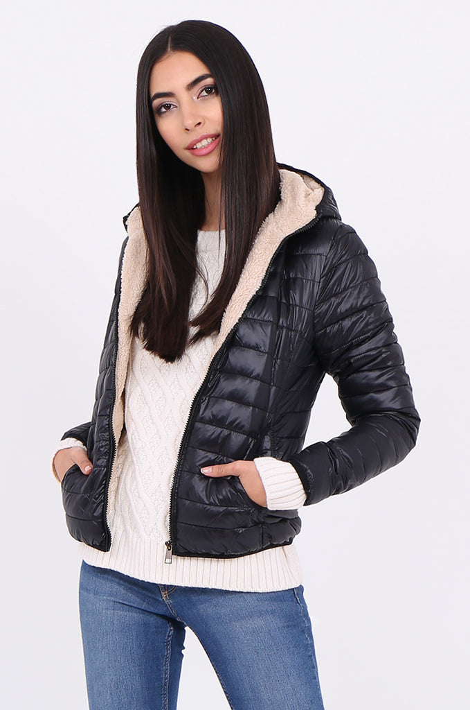 STT2129-BLACK HOODED TEDDY LINED PUFFER JACKET view main view