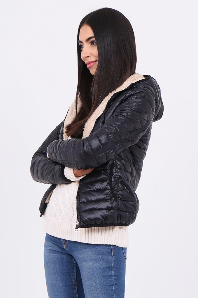 STT2129-BLACK HOODED TEDDY LINED PUFFER JACKET view 2