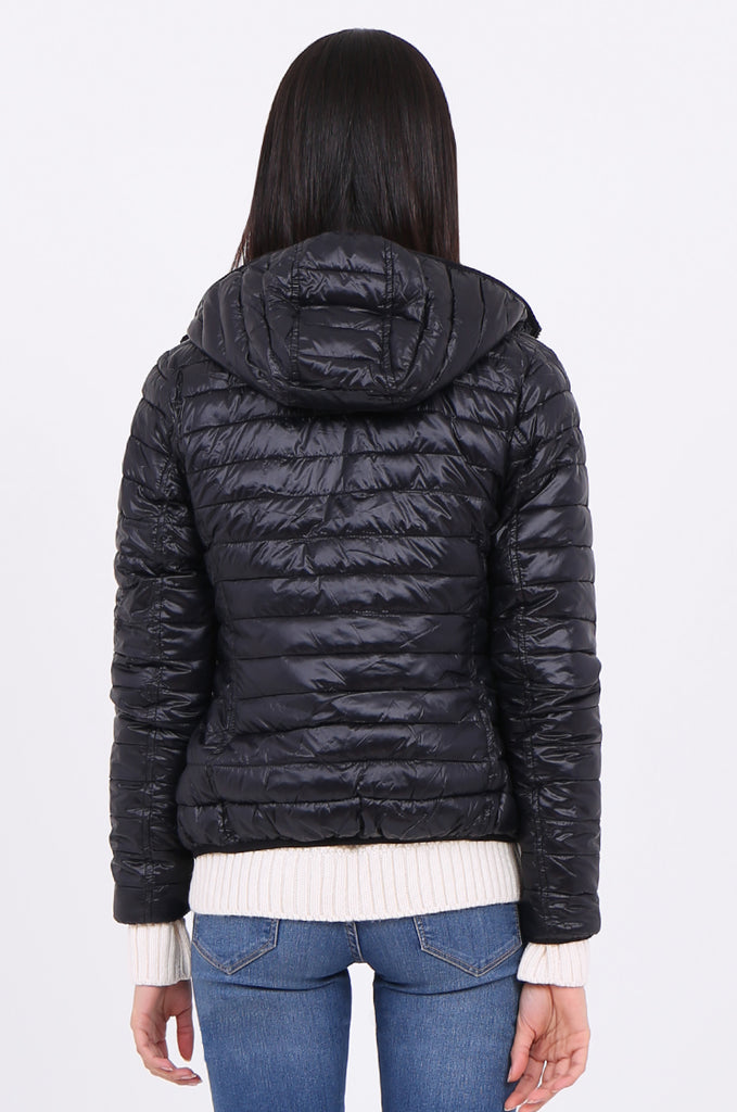 STT2129-BLACK HOODED TEDDY LINED PUFFER JACKET view 3