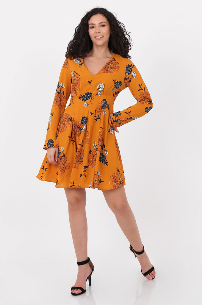SVM2667-MUSTARD FLORAL PRINT V-NECK DRESS view main view