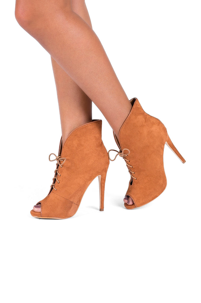 SW0298-TAN PEEP TOE LACE UP ANKLE BOOTS