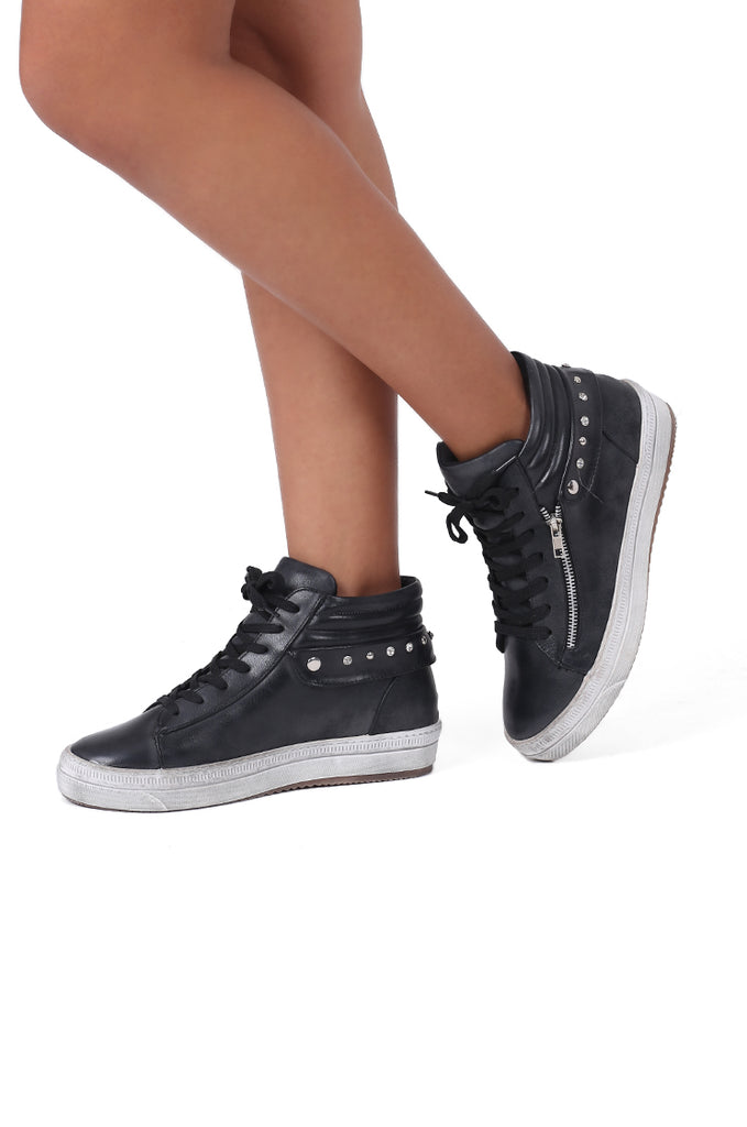 SW0481-BLACK DIAMANTE HIGH TOP TRAINER view main view