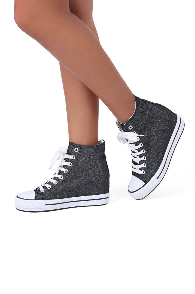 SW0483-BLACK METALLIC HIGH TOP HIDDEN WEDGE SNEAKER view main view
