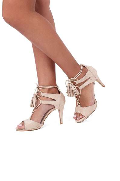 SUEDETTE LACE UP HEEL