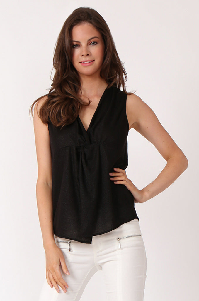 SWE1138-BLACK KNOT FRONT LUREX SLEEVELESS TOP