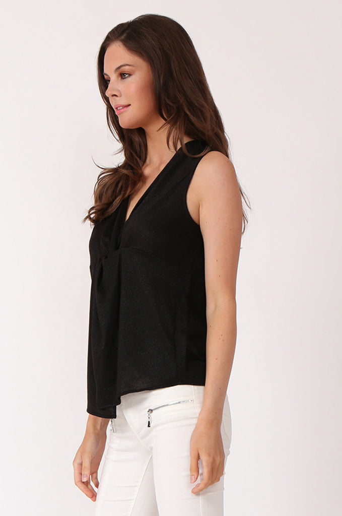 SWE1138-BLACK KNOT FRONT LUREX SLEEVELESS TOP view 2