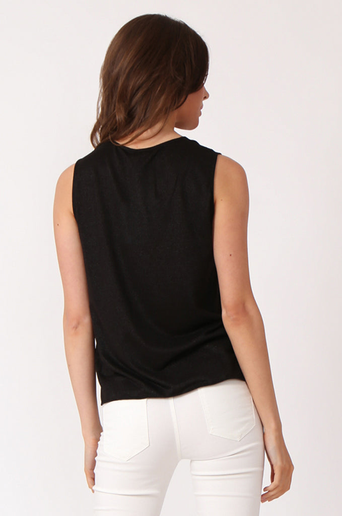 SWE1138-BLACK KNOT FRONT LUREX SLEEVELESS TOP view 3