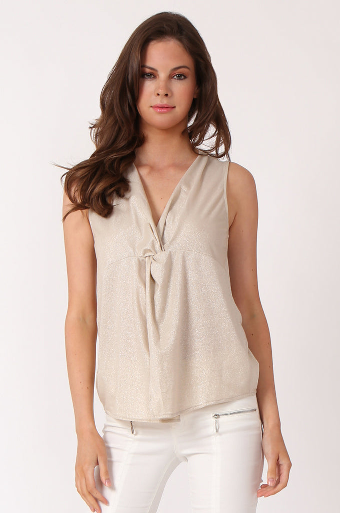 SWE1138-BEIGE KNOT FRONT LUREX SLEEVELESS TOP view main view