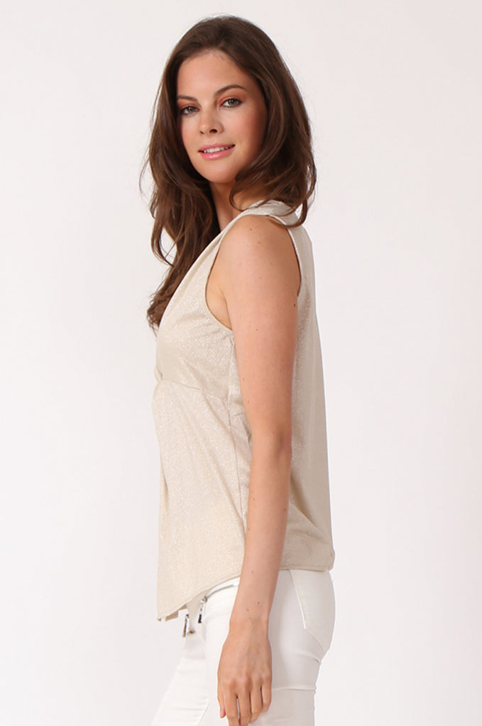 SWE1138-BEIGE KNOT FRONT LUREX SLEEVELESS TOP view 2