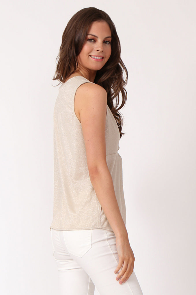 SWE1138-BEIGE KNOT FRONT LUREX SLEEVELESS TOP view 3