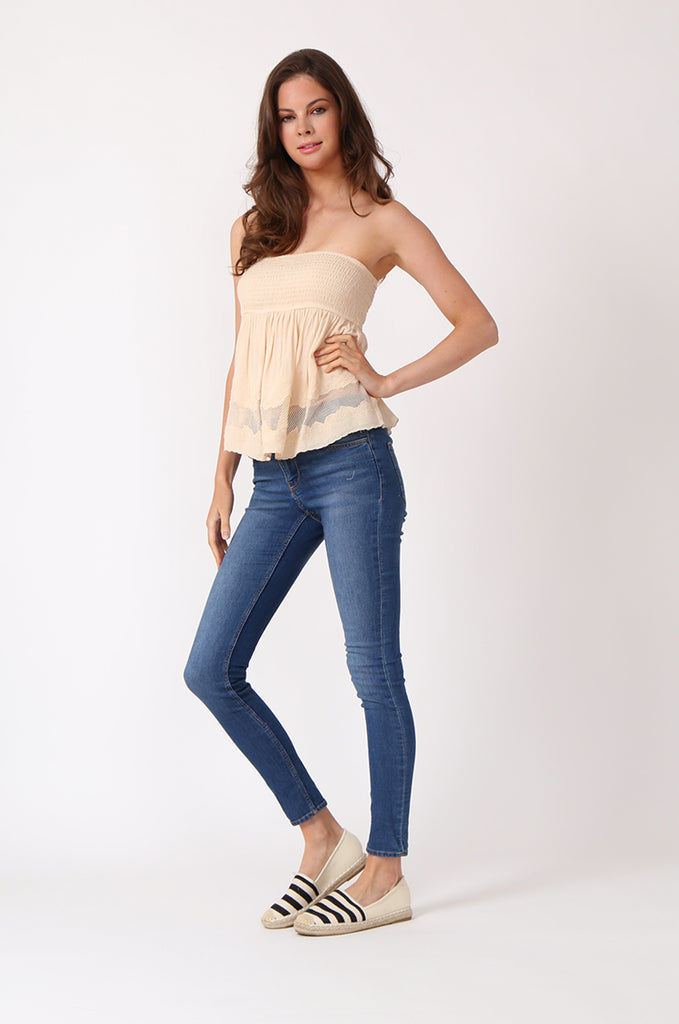 SWE1149-BEIGE SHIRRING EMBROIDED CROP STRAPLESS TOP view 4