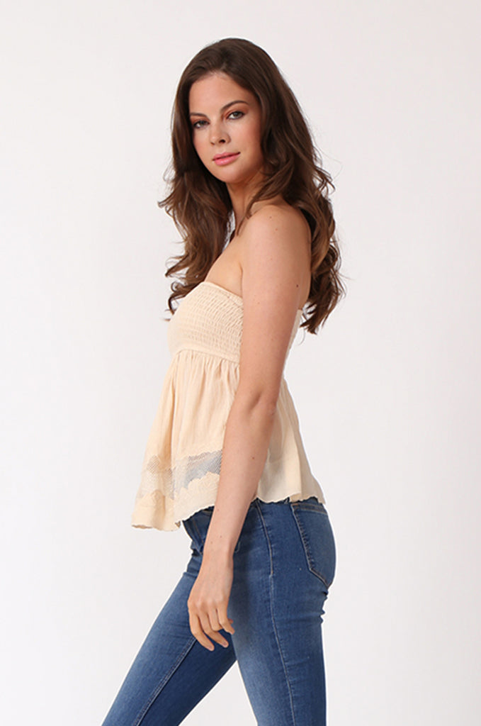 SWE1149-BEIGE SHIRRING EMBROIDED CROP STRAPLESS TOP view 2