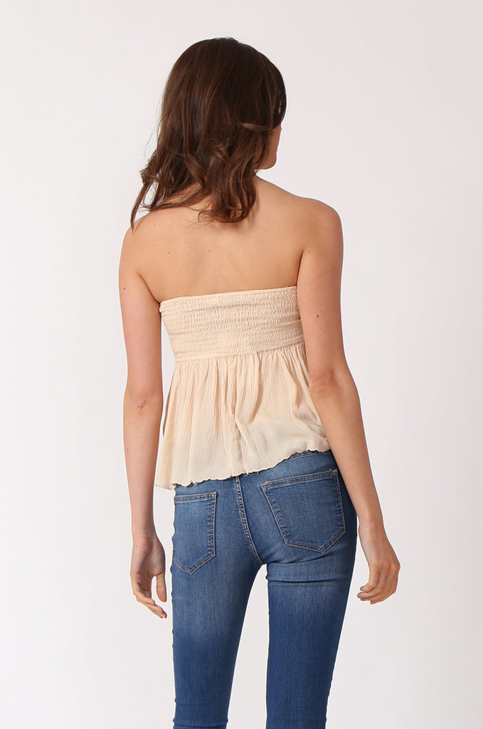 SWE1149-BEIGE SHIRRING EMBROIDED CROP STRAPLESS TOP view 3