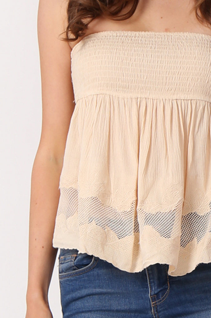 SHIRRING EMBROIDED CROP STRAPLESS TOP