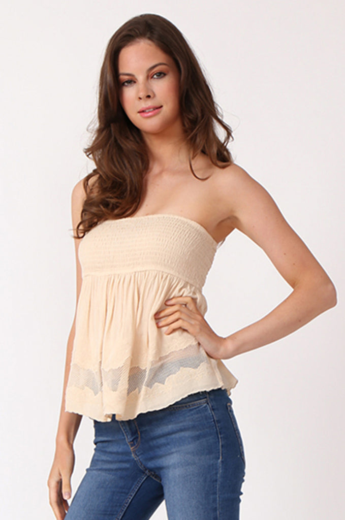 SWE1149-BEIGE SHIRRING EMBROIDED CROP STRAPLESS TOP