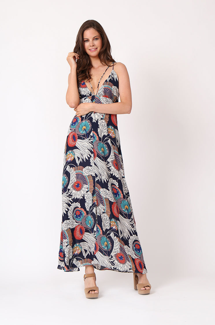 printed strappy maxi dress - m