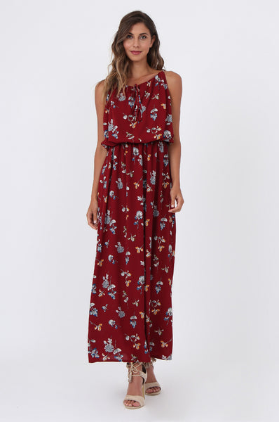FLORAL BLOUSED WAIST MAXI