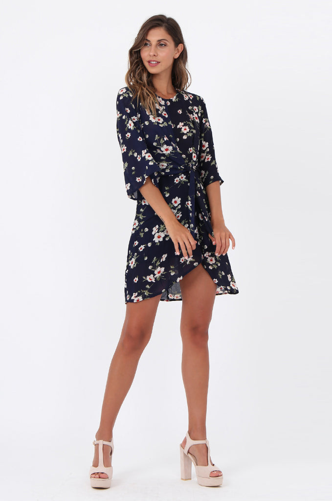 SWE1583-NAVY FLORAL TIE WAIST DRESS view main view