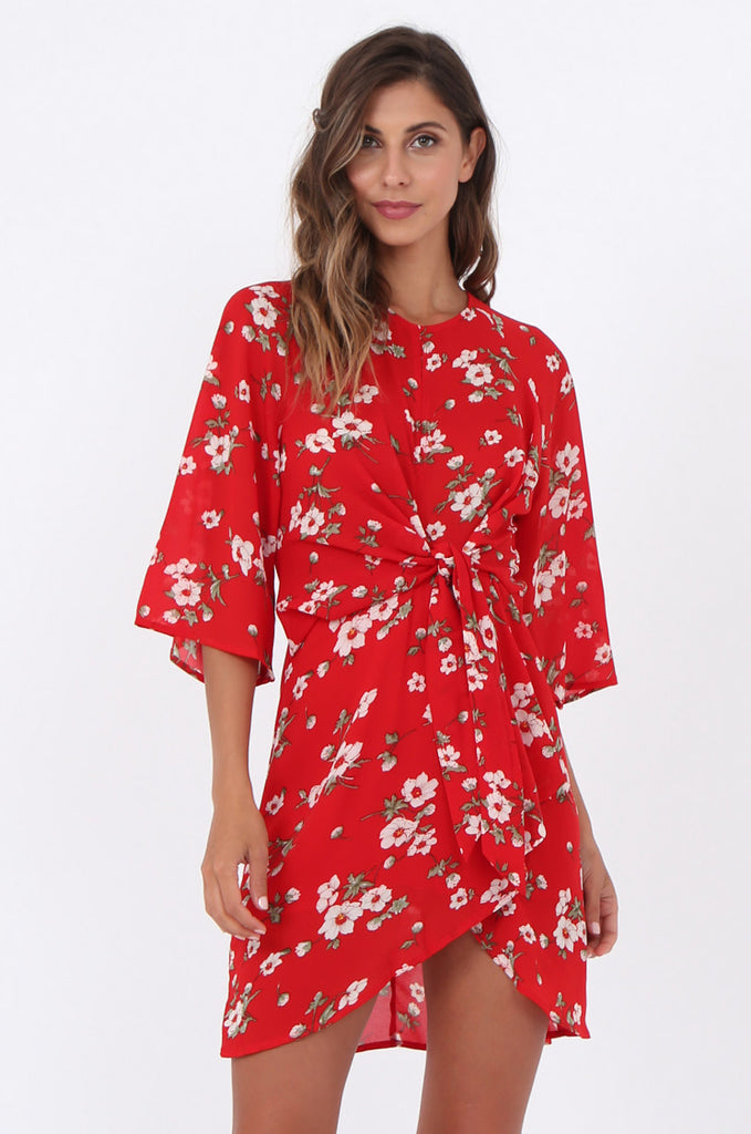 SWE1583-RED FLORAL TIE WAIST DRESS view 2