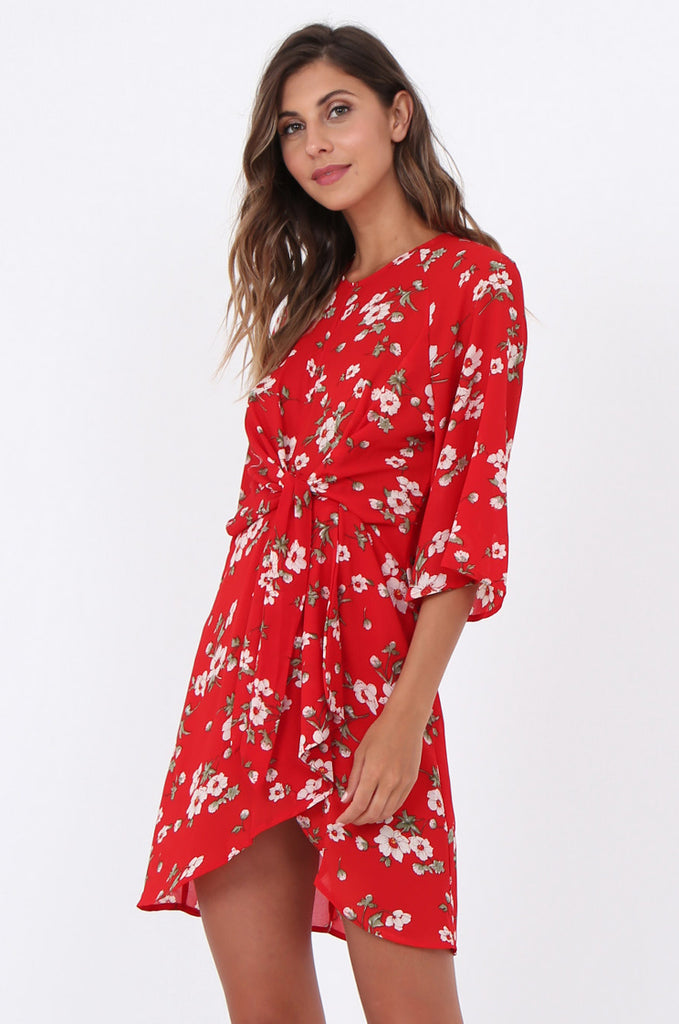 SWE1583-RED FLORAL TIE WAIST DRESS view 3