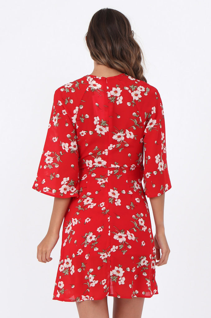 SWE1583-RED FLORAL TIE WAIST DRESS view 4
