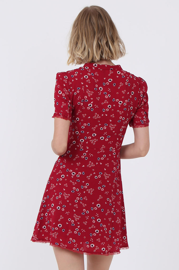 SWE1586-RED FLORAL LACE TRIM TEA DRESS view 4