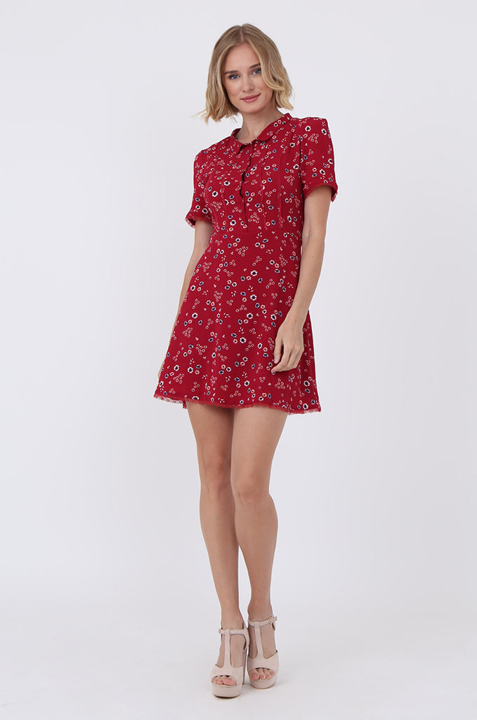 SWE1586-RED FLORAL LACE TRIM TEA DRESS