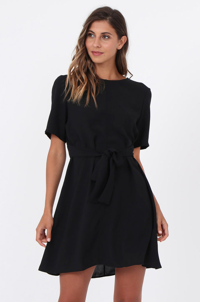 SWE1588-BLACK SHORT SLEEVE TIE WAIST DRESS view 2