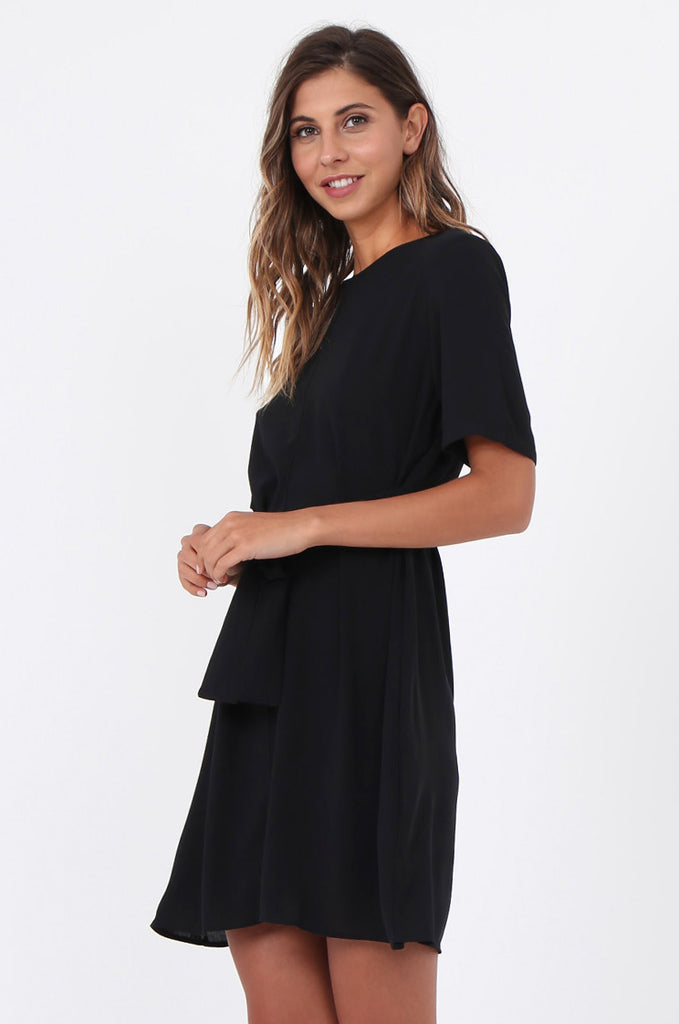 SWE1588-BLACK SHORT SLEEVE TIE WAIST DRESS view 3