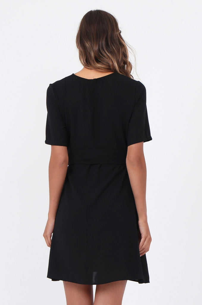 SWE1588-BLACK SHORT SLEEVE TIE WAIST DRESS view 4